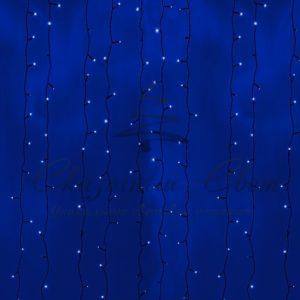 Гирлянда «Светодиодный Дождь» 2х6м, постоянное свечение, черный провод, 230 В, диоды СИНИЕ, 1500 LED
