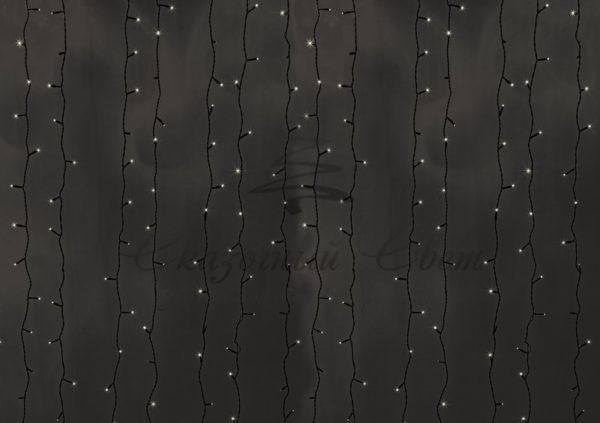 """Гирлянда """"Светодиодный Дождь"""" 2х6м, постоянное свечение, прозрачный провод, 230 В, диоды ТЕПЛО-БЕЛЫЕ, 1500 LED"""