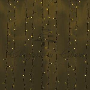 Гирлянда «Светодиодный Дождь» 2х9м, постоянное свечение, черный провод, 230 В, диоды ЖЕЛТЫЕ, 2200 LED