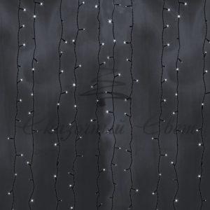 Гирлянда «Светодиодный Дождь» 2х9м, постоянное свечение, черный провод, 230 В, диоды БЕЛЫЕ, 2200 LED