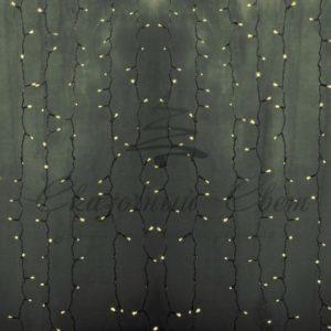 Гирлянда «Светодиодный Дождь» 2х9м, постоянное свечение, прозрачный провод, 230 В, диоды ТЕПЛО-БЕЛЫЕ, 2200 LED