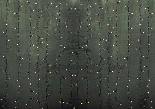 """Гирлянда """"Светодиодный Дождь"""" 2х9м, постоянное свечение, прозрачный провод, 230 В, диоды ТЕПЛО-БЕЛЫЕ, 2200 LED"""