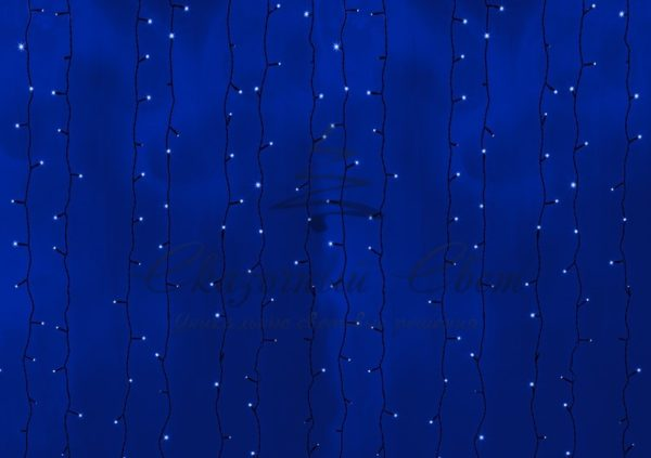 """Гирлянда """"Светодиодный Дождь"""" 2х3м, постоянное свечение, черный провод, 24В, диоды СИНИЕ, 760 LED, трансформатор в комплекте NEON-NIGHT"""