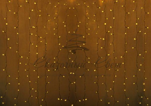 """Гирлянда """"Светодиодный Дождь"""" 2х1,5м, постоянное свечение,прозрачный провод, 230 В, диоды ЖЁЛТЫЕ, 360 LED"""
