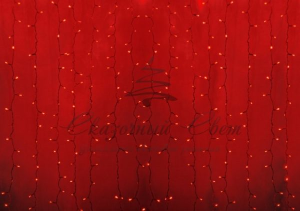 """Гирлянда """"Светодиодный Дождь"""" 2х1,5м, постоянное свечение, прозрачный провод, 230 В, диоды КРАСНЫЕ, 192 LED"""