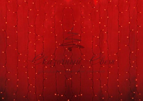 """Гирлянда """"Светодиодный Дождь"""" 2х1,5м, постоянное свечение, прозрачный провод, 230 В, диоды КРАСНЫЕ, 360 LED"""