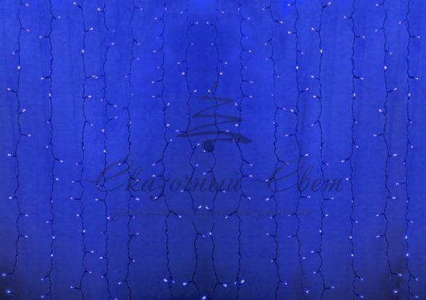 """Гирлянда """"Светодиодный Дождь"""" 2х1,5м, постоянное свечение, прозрачный провод, 230 В, диоды СИНИЕ, 360 LED"""