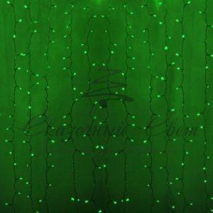 Гирлянда «Светодиодный Дождь» 2х1,5м, постоянное свечение, прозрачный провод, 230 В, диоды ЗЕЛЁНЫЕ, 192 LED