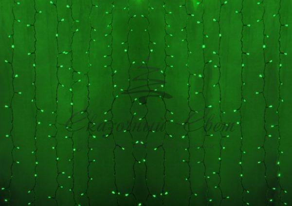"""Гирлянда """"Светодиодный Дождь"""" 2х1,5м, постоянное свечение, прозрачный провод, 230 В, диоды ЗЕЛЁНЫЕ, 360 LED"""