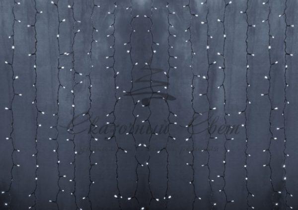 """Гирлянда """"Светодиодный Дождь"""" 2х1,5м, постоянное свечение,прозрачный провод, 230 В, диоды БЕЛЫЕ, 192 LED"""