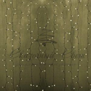 Гирлянда «Светодиодный Дождь» 2х1,5м, постоянное свечение, прозрачный провод, 230 В, диоды ТЁПЛО-БЕЛЫЕ, 192 LED