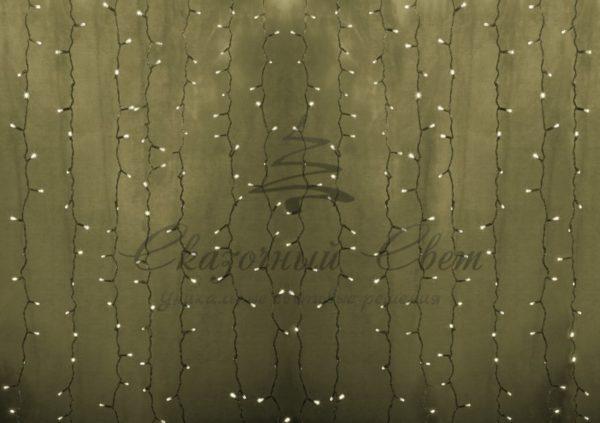 """Гирлянда """"Светодиодный Дождь"""" 2х1,5м, постоянное свечение, прозрачный провод, 230 В, диоды ТЁПЛО-БЕЛЫЕ, 192 LED"""