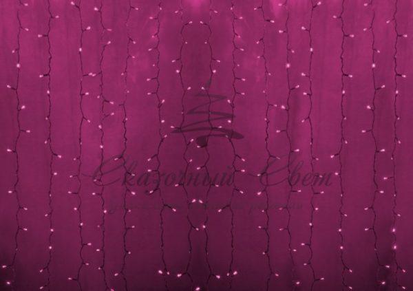 """Гирлянда """"Светодиодный Дождь"""" 2х1,5м, постоянное свечение, прозрачный провод, 230 В, диоды РОЗОВЫЕ, 360 LED"""