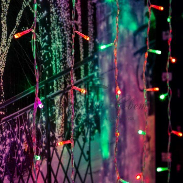 """Гирлянда """"Светодиодный Дождь"""" 2х2м, свечение с динамикой, прозрачный провод, 230 В, диоды RGB, 200 LED"""