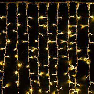 Гирлянда «Светодиодный Дождь» 2х3м, постоянное свечение, белый провод «КАУЧУК», 230 В, диоды ЖЁЛТЫЕ, 760 LED
