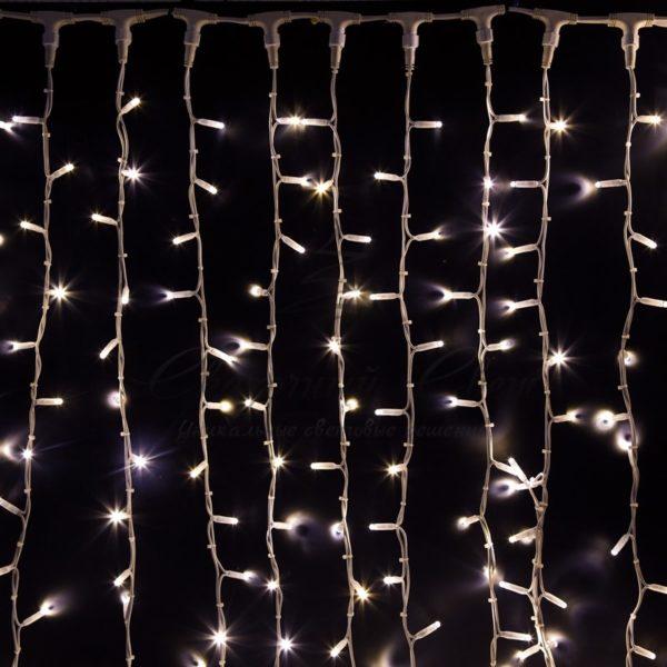 """Гирлянда """"Светодиодный Дождь"""" 2х3м, постоянное свечение, белый провод """"КАУЧУК"""", 230 В, диоды БЕЛЫЕ, 760 LED"""