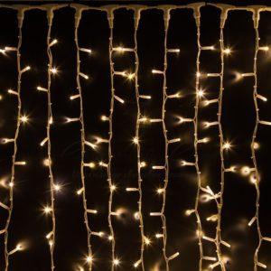 Гирлянда «Светодиодный Дождь» 2х3м, постоянное свечение, белый провод «КАУЧУК», 230 В, диоды ТЕПЛО-БЕЛЫЕ, 760 LED