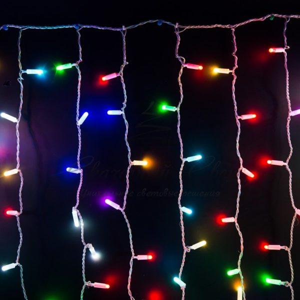 """Гирлянда """"Светодиодный Дождь"""" 2х1,5м, прозрачный провод, 230 В, диоды RGB, 300 LED свечение с динамикой при приобитении контроллера 245-907"""