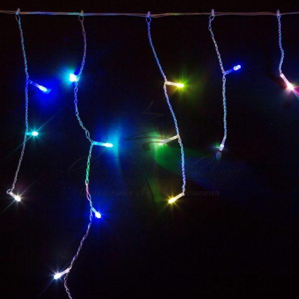 Гирлянда Айсикл (бахрома) светодиодный, 1,8 х 0,5 м, прозрачный провод, 230 В, диоды RGB 2
