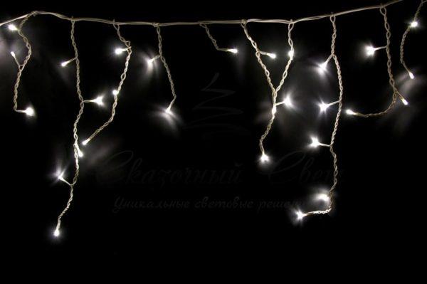 Гирлянда Айсикл (бахрома) светодиодный, 1,8 х 0,5 м, белый провод, 230 В, диоды тепло-белые, 48 LED