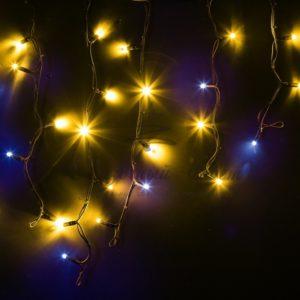 Гирлянда Айсикл (бахрома) светодиодный, 4,0 х 0,6 м, с эффектом мерцания, черный провод «КАУЧУК», 230 В, диоды желтые, NEON-NIGHT