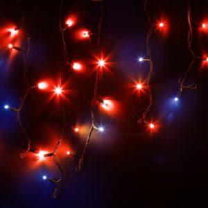 Гирлянда Айсикл (бахрома) светодиодный, 4,0 х 0,6 м, с эффектом мерцания, черный провод «КАУЧУК», 230 В, диоды красные, 128 LED NEON-NIGHT