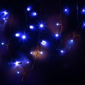 Гирлянда Айсикл (бахрома) светодиодный, 4,0 х 0,6 м, с эффектом мерцания, черный провод «КАУЧУК», 230 В, диоды синие, NEON-NIGHT