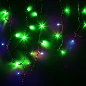 Гирлянда Айсикл (бахрома) светодиодный, 4,0 х 0,6 м, с эффектом мерцания, черный провод «КАУЧУК», 230 В, диоды зеленые, 128 LED NEON-NIGHT