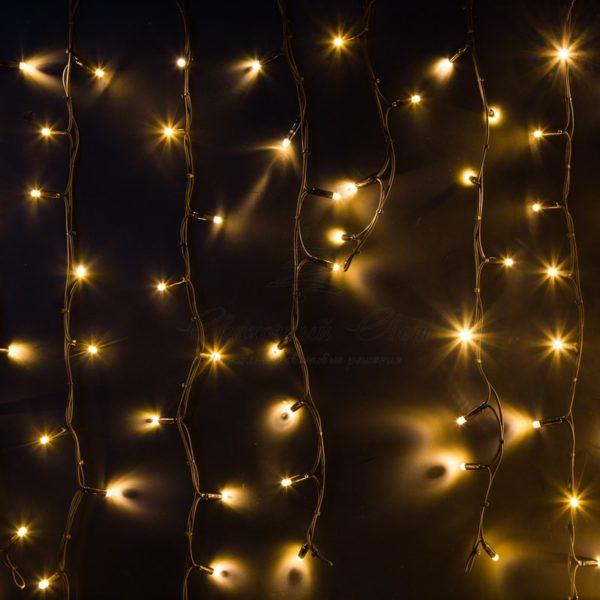 """Гирлянда Айсикл (бахрома) светодиодный, 6,0 х 1,5 м, черный провод """"КАУЧУК"""", 230 В, диоды тепло-белые, 480 LED NEON-NIGHT"""