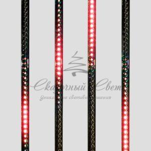Сосулька светодиодная 50 см, 9,5V, двухсторонняя, 32х2 светодиодов, пластиковый корпус черного цвета, цвет светодиодов красный (Копировать)