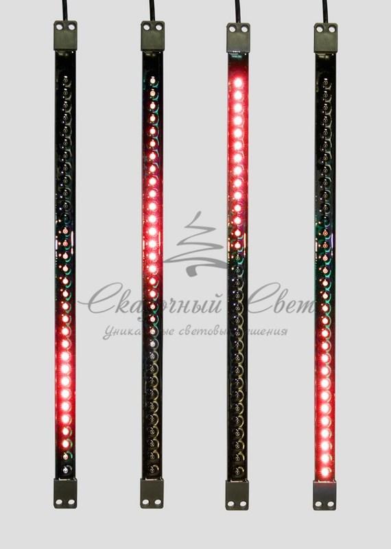 Сосулька светодиодная 50 см, 9,5V, двухсторонняя, 32х2 светодиодов, пластиковый корпус черного цвета, цвет светодиодов красный (Копировать) 2