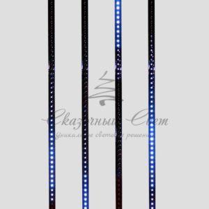 Сосулька светодиодная 80 см, 9,5V, двухсторонняя, 48х2 светодиодов, пластиковый корпус черного цвета, цвет светодиодов синий