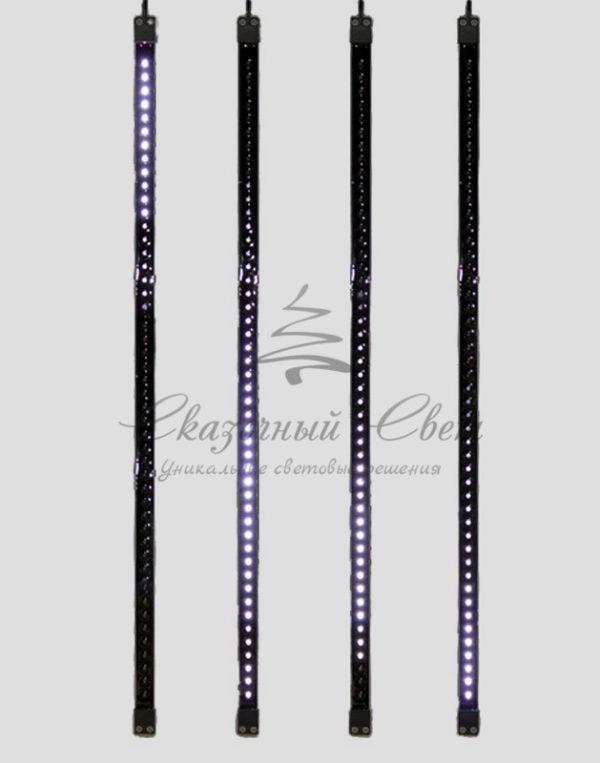 Сосулька светодиодная 80 см, 9,5V, двухсторонняя, 48х2 светодиодов, пластиковый корпус черного цвета, цвет светодиодов белый