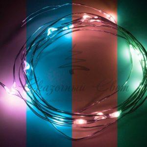 Гирлянда «Роса», 2 м, 20 диодов, цвет RGB
