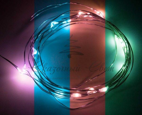"""Гирлянда """"Роса"""", 2 м, 20 диодов, цвет RGB 1"""