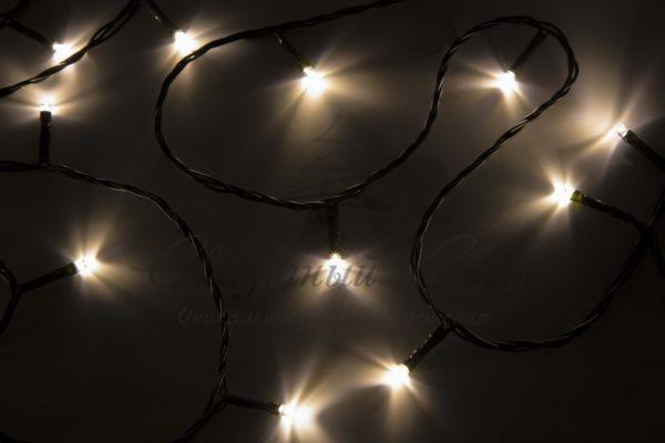 """Гирлянда """"Твинкл Лайт"""" 4 м, темно-зеленый ПВХ, 25 LED, цвет теплый белый"""
