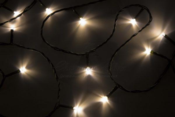 """Гирлянда """"Твинкл Лайт"""" 10 м, темно-зеленый ПВХ, 80 LED, цвет теплый белый"""