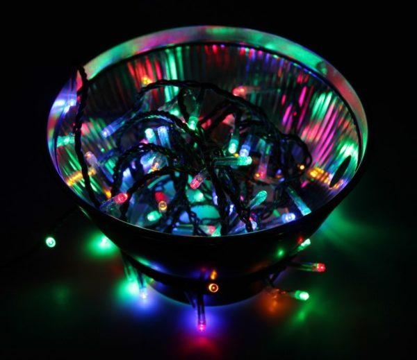 "Гирлянда ""Твинкл Лайт"" 10 м, темно-зеленый ПВХ, 80 LED, цвет мультиколор"