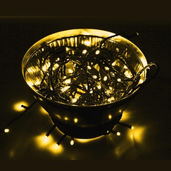 """Гирлянда """"Твинкл Лайт"""" 10 м,  черный ПВХ, 100 диодов, цвет розовое золото (Rose Gold)"""