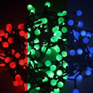 Гирлянда «Мультишарики» Ø23 мм, 10 м, черный ПВХ, 80 диодов, цвет RGB