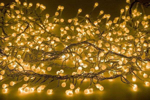 "Гирлянда ""Мишура LED""  3 м  прозрачный ПВХ, 288 диодов, цвет желтый"