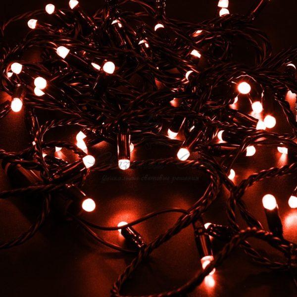 Гирлянда Нить 10м, постоянное свечение, черный ПВХ, 230В, цвет: Красный