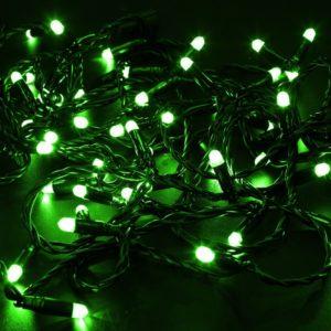 Гирлянда Нить 10м, эффект мерцания (каждый 5-ый), черный ПВХ, 230В, цвет: Зелёный
