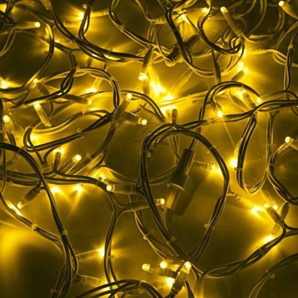 """Гирлянда модульная  """"Дюраплей LED""""  20м  200 LED  белый каучук  Желтая"""