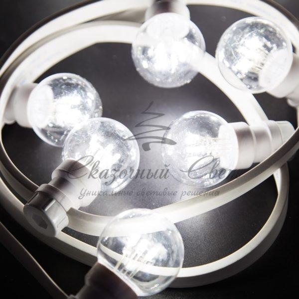 Гирлянда LED Galaxy Bulb String 10м, белый КАУЧУК, 30 ламп*6 LED БЕЛЫЕ Партия NN на ПВХ, 25 ламп, влагостойкая IP65 4