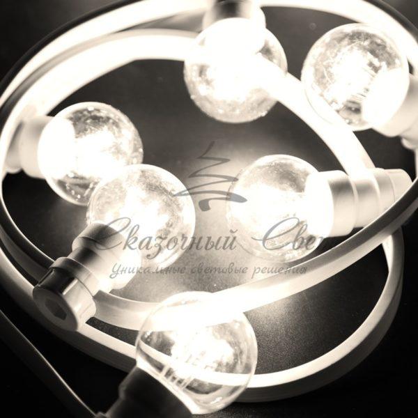 Гирлянда LED Galaxy Bulb String 10м, белый КАУЧУК, 30 ламп*6 LED ТЕПЛО-БЕЛЫЕ, влагостойкая IP65 4