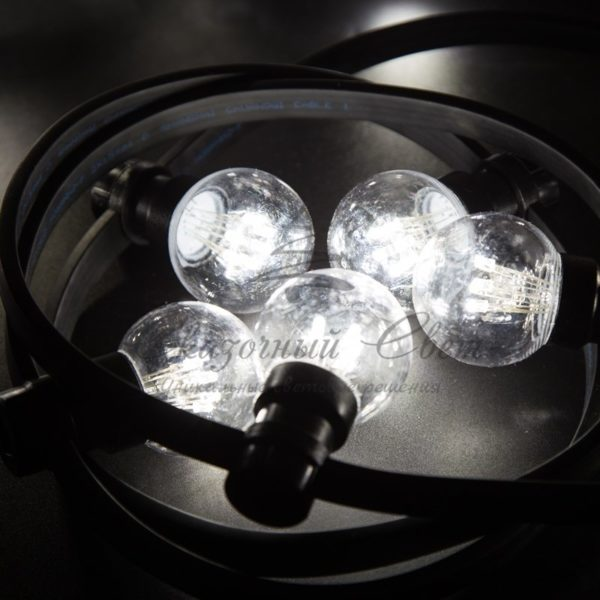 Гирлянда LED Galaxy Bulb String 10м, черный КАУЧУК, 30 ламп*6 LED БЕЛЫЕ, влагостойкая IP65 4