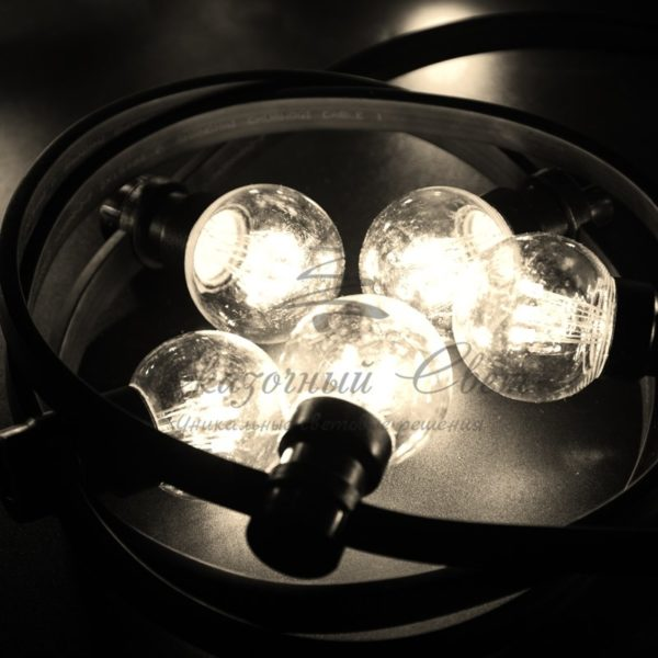Гирлянда LED Galaxy Bulb String 10м, черный КАУЧУК, 30 ламп*6 LED ТЕПЛО-БЕЛЫЕ, влагостойкая IP65 4