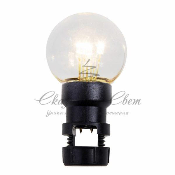 Лампа шар 6 LED для белт-лайта, цвет: Тёплый белый, Ø45мм, прозрачная колба