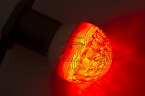 Лампа шар e27 9 LED  Ø50мм красная 1